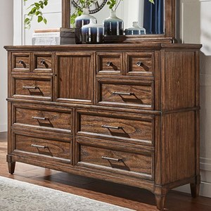 Transitional Solid Wood 8 Drawer Dresser with Removable Felt-Lined Jewelry Tray