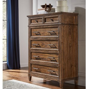 Transitional Solid Wood 6 Drawer Chest with Felt Lined Jewelry Tray