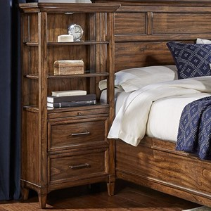 Transitional Solid Wood 2 Drawer Pier Cabinet with Touch Lighting