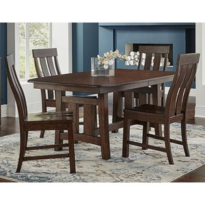 Transitional 5-Piece Trestle Table and Chair Set