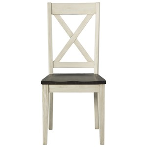 Transitional Solid Wood Side Chair with X Back Design