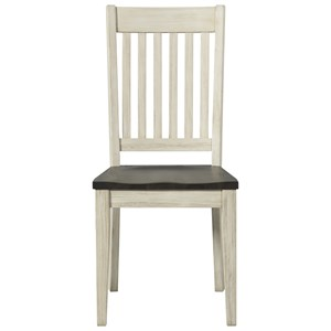 Transitional Solid Wood Side Chair with Slatted Back