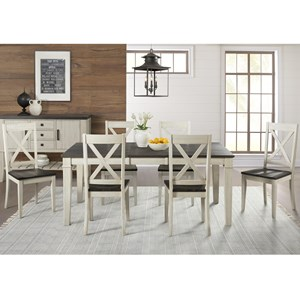 7 Piece Transitional Table and X Back Chair Set