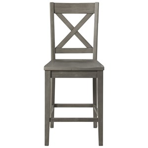 Transitional Solid Wood Bar Stool with X Back Design