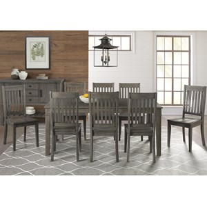 9 Piece Transitional Table and Slat Back Chair Set