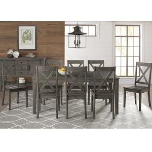 9 Piece Transitional Table and X Back Chair Set
