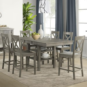 5 Piece Transitional Counter Height Table and X Back Chair Set