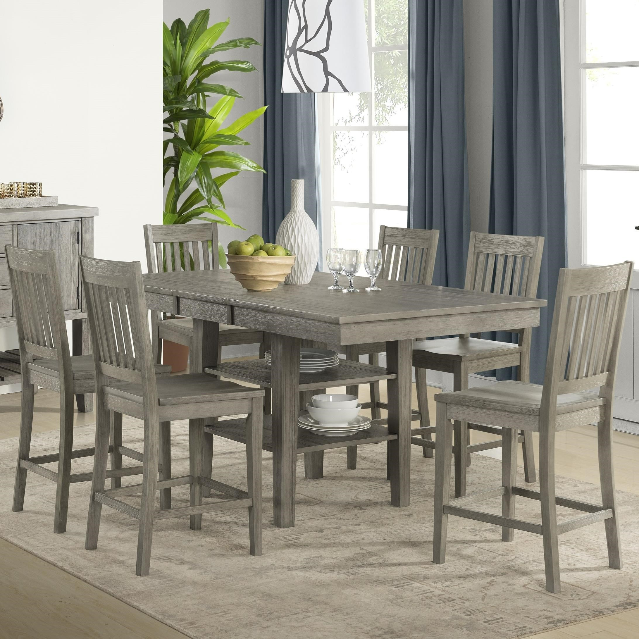 Huron Transitional Pub Table and Chair Set by AAmerica at Wilson's Furniture