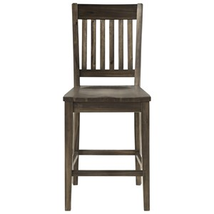 Transitional Solid Wood Bar Stool with Slatted Back