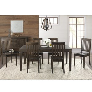 7 Piece Transitional Table and Slat Back Chair Set