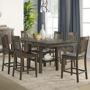 7 Piece Transitional Counter Height Table and Slat Back Chair Set