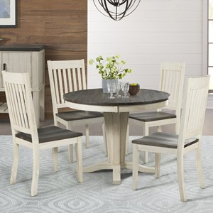 5 Piece Pedestal Table and Slat Back Chair Set