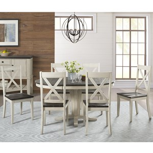 7 Piece Transitional Pedestal Table and X Back Chair Set