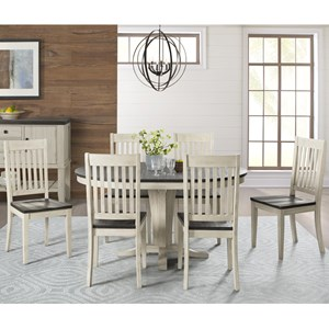 7 Piece Transitional Pedestal Table and Slat Back Chair Set