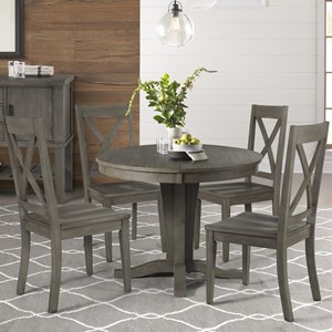 5 Piece Pedestal Table and X Back Chair Set