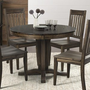 Transitional Solid Wood Pedestal Table with Removable Leaf