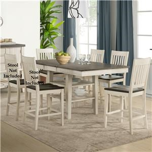 5 Piece Transitional Counter Height Table and Slat Back Chair Set