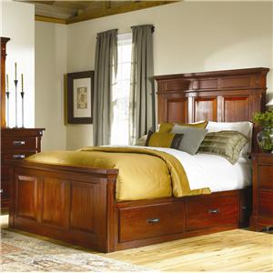 AAmerica Kalispell Queen Mantel Bed w/ Storage Boxes