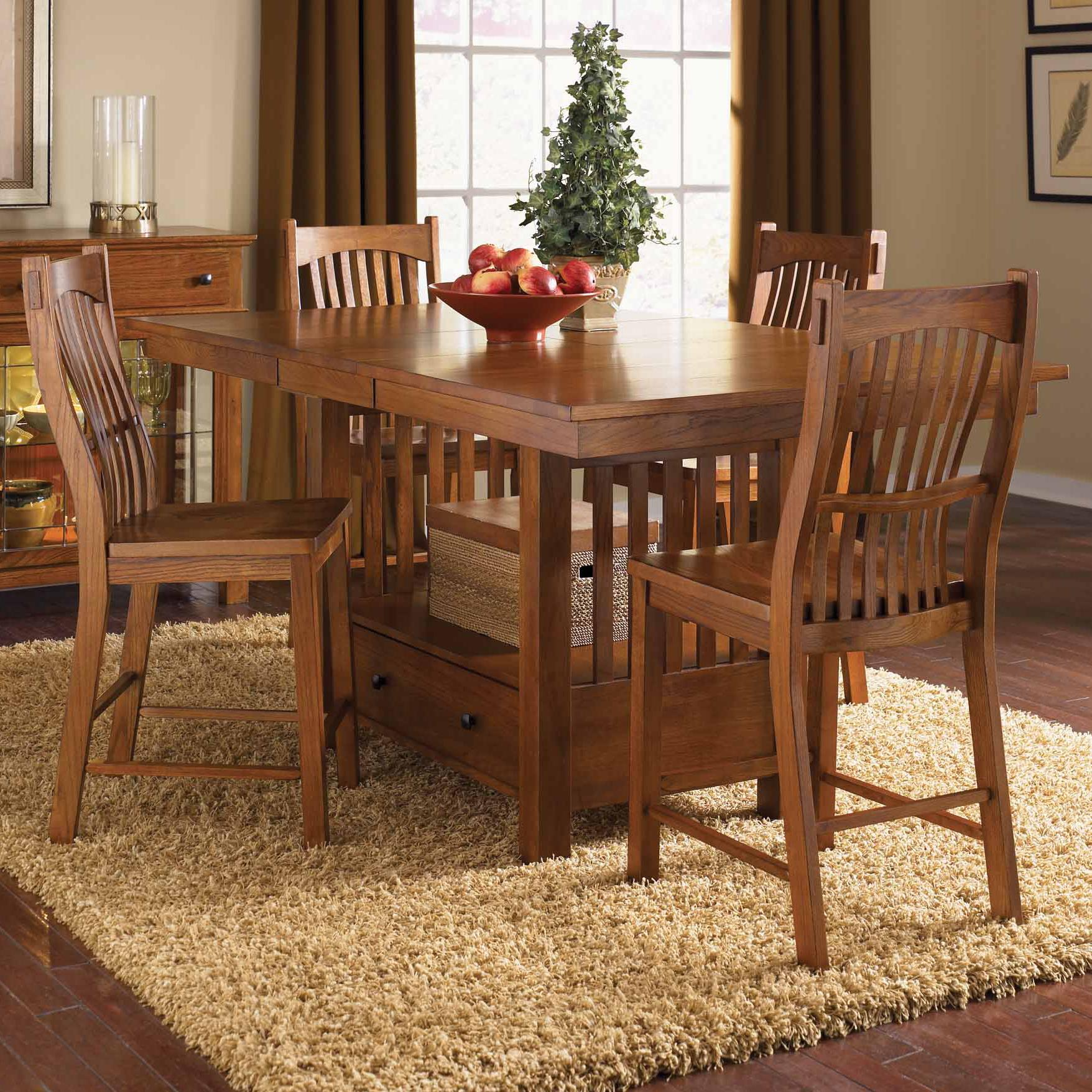 Laurelhurst 5-Piece Rect. Gathering Height Table Set by A-A at Walker's Furniture