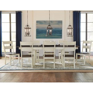9 Piece Trestle Table and Ladderback Chairs Set
