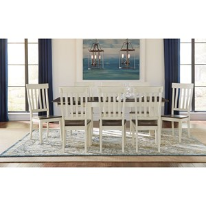 9 Piece Dining Table and Slatback Chairs Set