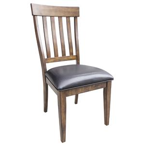 Slatback Side Chair with Upholstered Seat