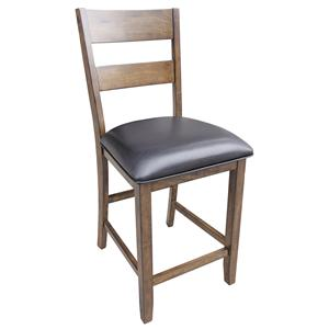 Ladderback Counterheight Stool with Faux Leather Seat