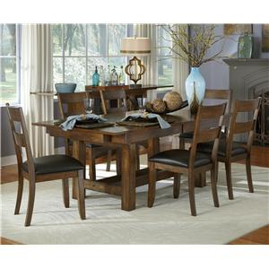 7 Piece Trestle Table and Ladderback Chairs Set