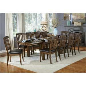 11 Piece Dining Table and Slatback Chairs Set
