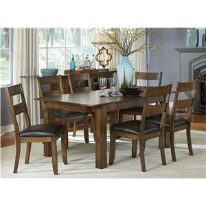 7 Piece Rectangle Table and Ladderback Chairs Set
