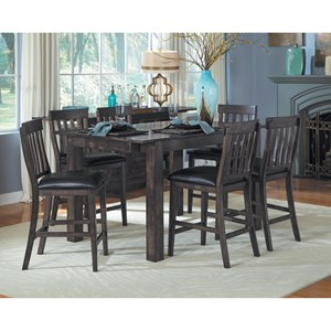 7 Piece Gathering Table and Slatback Chairs Set