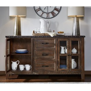 Industrial 4-Drawer Sideboard with Felt Lined Top Drawer