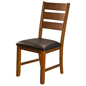 Ladderback Upholstered Seat Side Chair