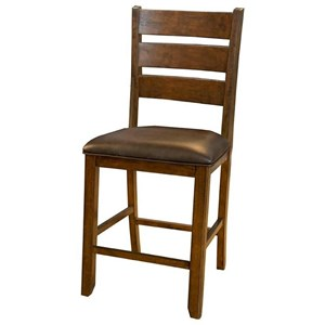 Ladderback Gathering Height Upholstered Barstool