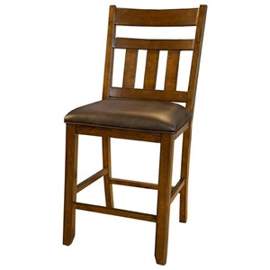Slatback Gathering Height Upholstered Barstool