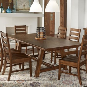 Transitional Solid Wood Trestle Table with Butterfly Leaf