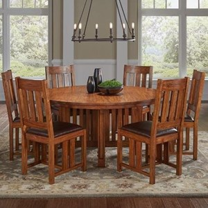 7 Piece Round Pedestal Table and Slat Back Chair Set