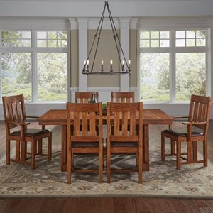 AAmerica Mission Hill 7 Piece Trestle Table and Chair Set