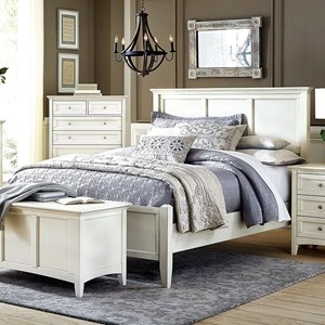 Cottage Style Solid Wood Queen Panel Bed