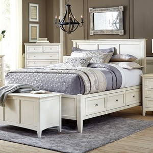 Cottage Style Solid Wood Queen Storage Bed