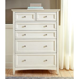 Cottage Style 6-Drawer Chest with Metal Hardware