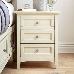 Cottage Style Nightstand with Metal Hardware