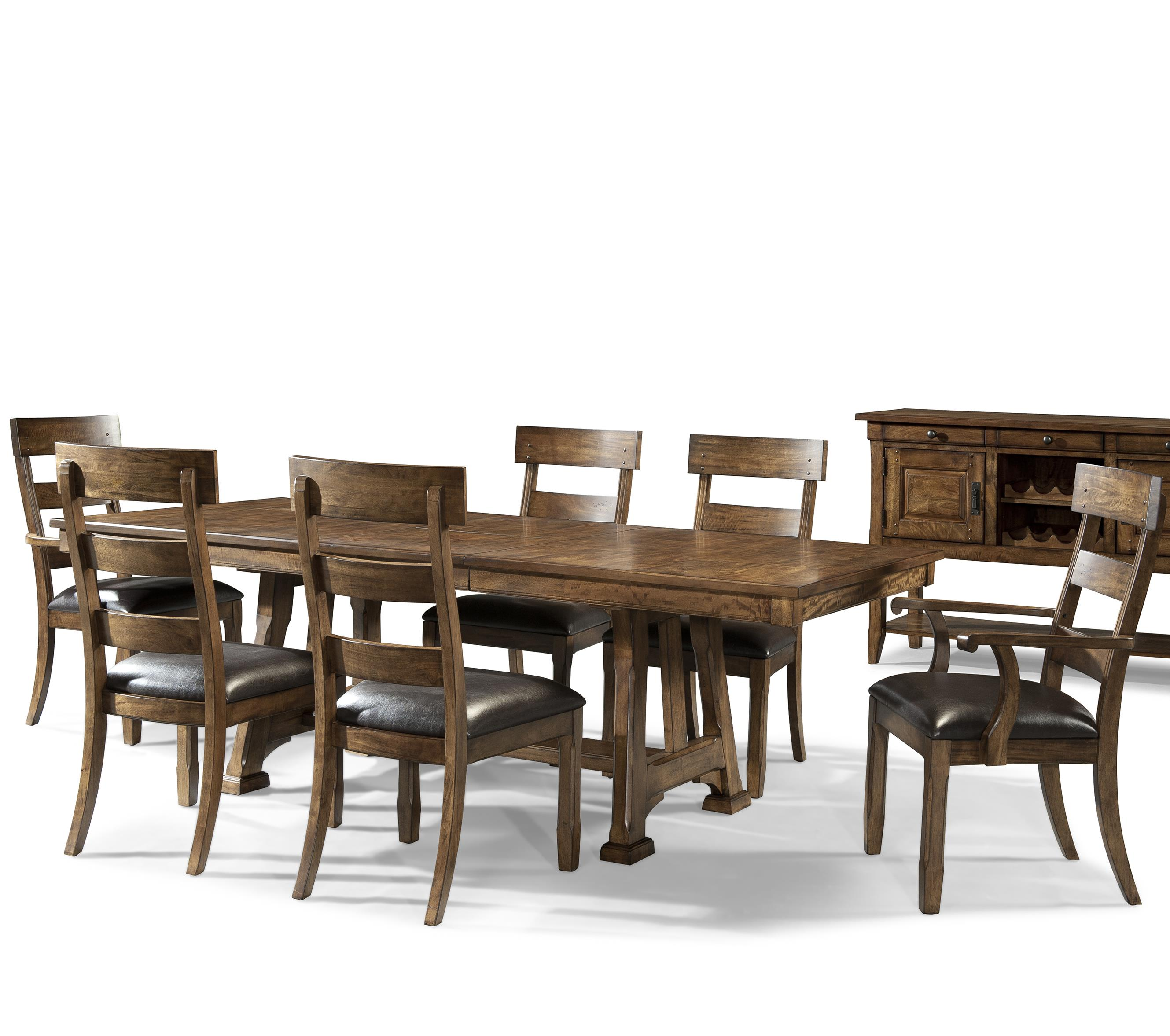 Ozark 7 Piece Trestle Table and Chair Set by A-A at Walker's Furniture