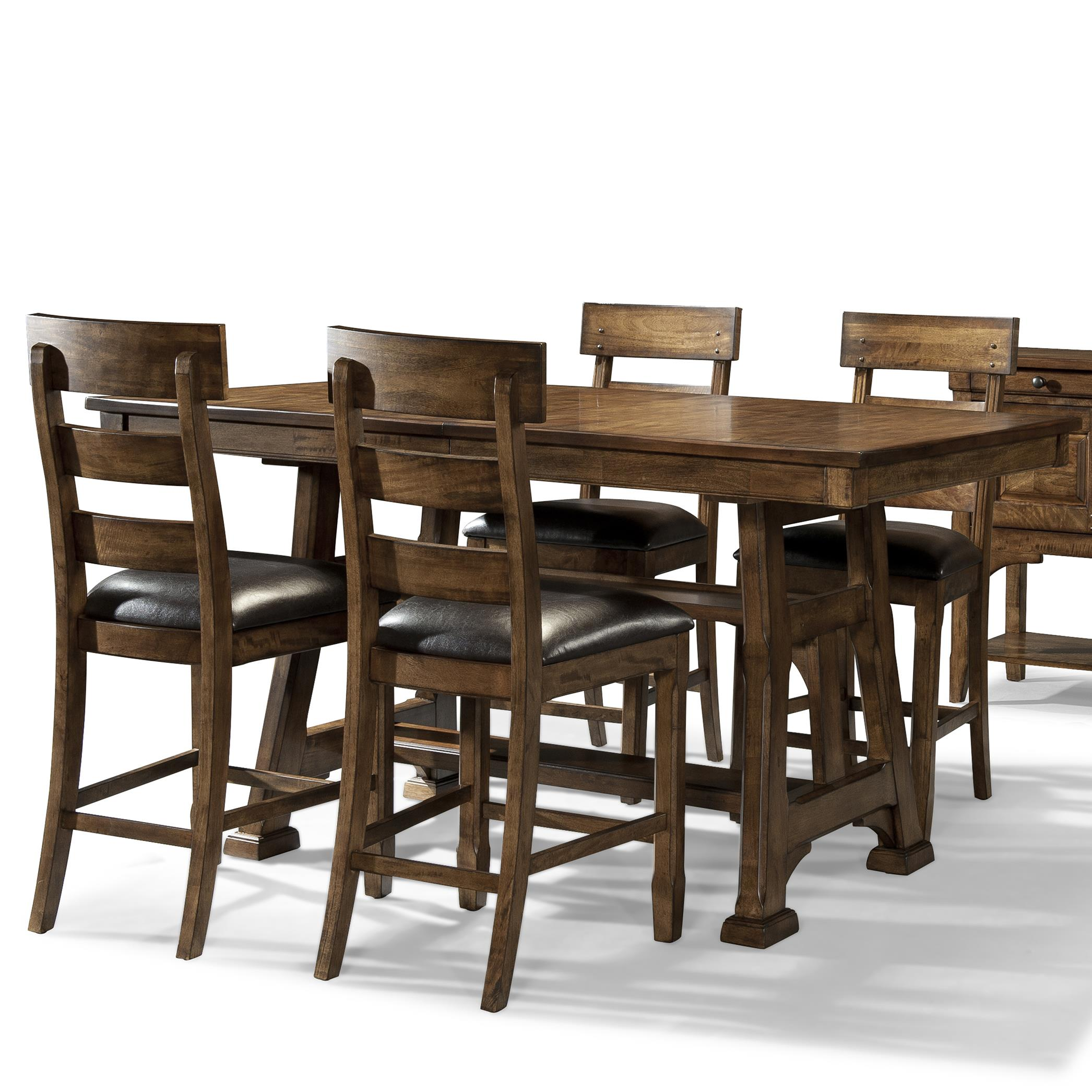 Ozark 5 Piece Trestle Pub Table and Stool Set by A-A at Walker's Furniture