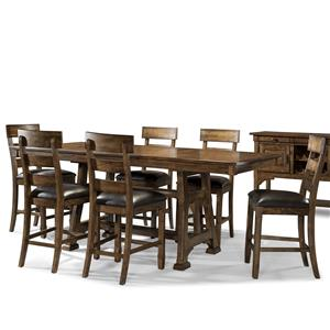 AAmerica Ozark 7 Piece Trestle Pub Table and Stool Set