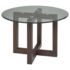 "Contemporary 48"" Round Glass Top Table"