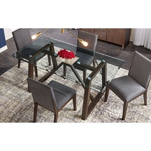 5-Piece Contemporary Dining Room Table Set with Glass Table Top