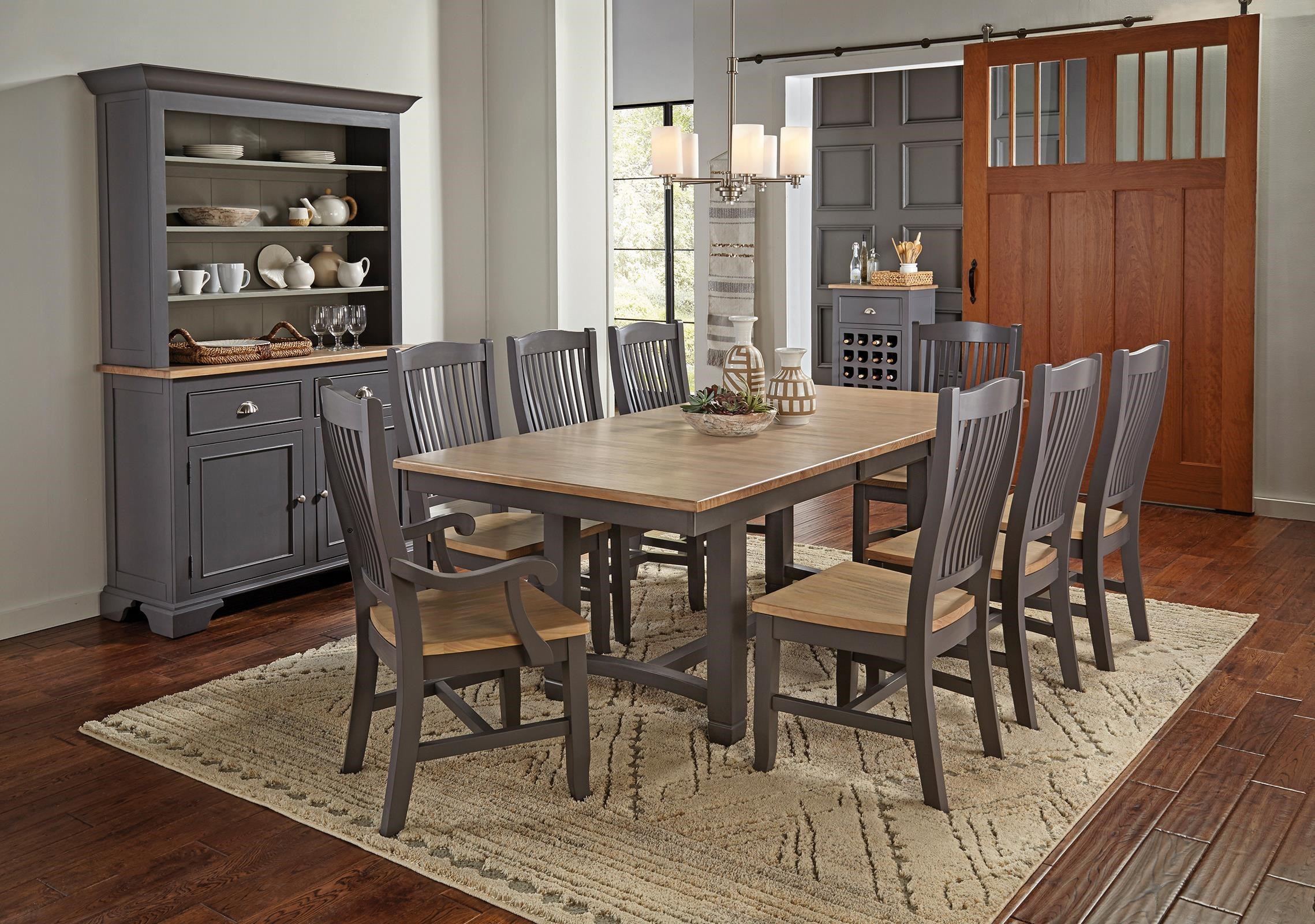 Port Townsend Trestle Table, 4 Side Chairs, 2 Arm Chair by AAmerica at Johnny Janosik