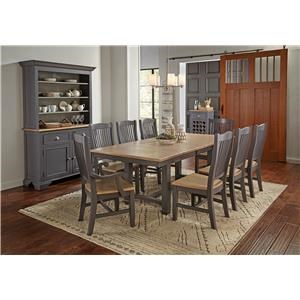 Trestle Table, 4 Side Chairs, 2 Arm Chair