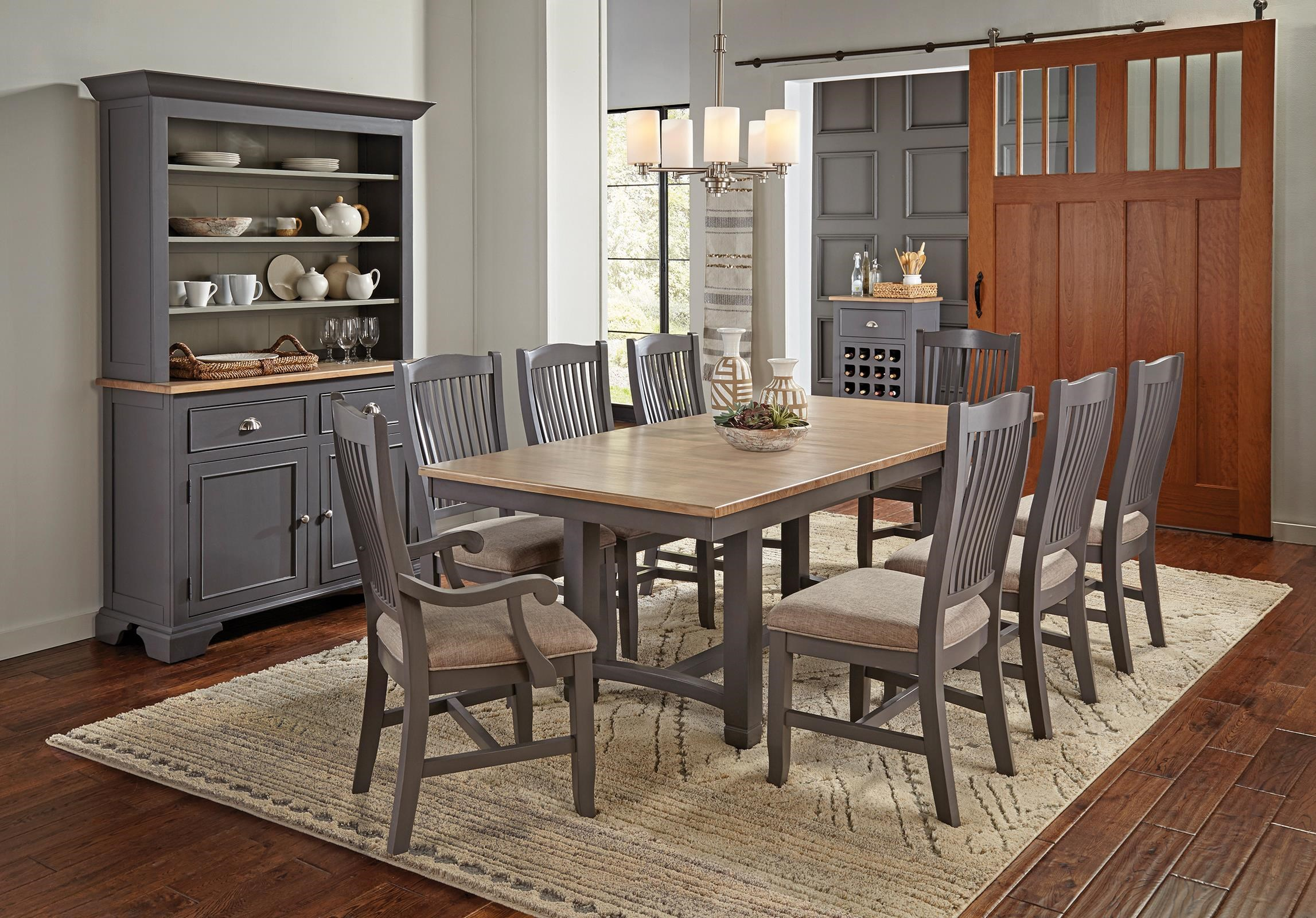 Port Townsend Trestle Table with 4 Chairs by AAmerica at Johnny Janosik